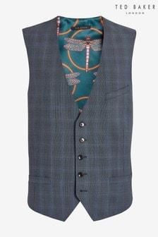 Ted Baker Blue Rivdebw Fashion Fit Debonair Check Suit Waistcoat