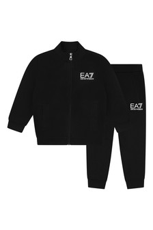 EA7 Boys Black Cotton Logo Tracksuit
