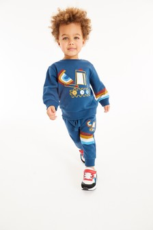 Blue Digger Appliqué Crew And Joggers Set (3mths-7yrs)