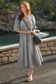Black/White Check Midi Swing Dress