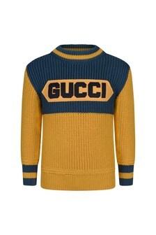 Boys Yellow Knitted Wool Logo Jumper