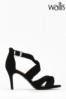 Wallis Black Twist Vamp Cross Strap Sandals