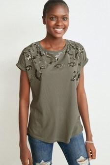 Khaki Sequin Embellished T-Shirt