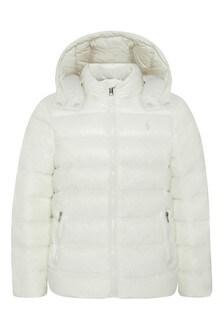 Girls White Padded Jacket