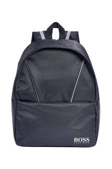 Boys Black Backpack With Bottle Holder