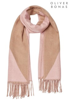 Oliver Bonas Diamond Splice Brown/Pink Square Hair Scarf