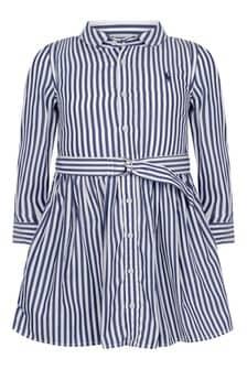 Ralph Lauren Kids Girls Blue Striped Cotton Shirt Dress