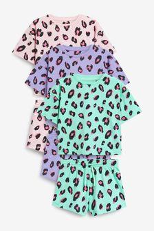 Animal Print 3 Pack Short Pyjamas (3-16yrs)