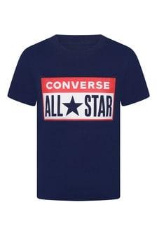 Boys Navy Cotton All Star T-Shirt