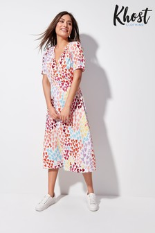 Khost Pink Rainbow Heart Wrap Midi Dress