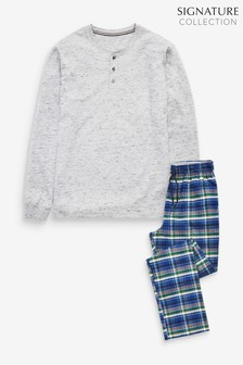 Grey/Teal Signature Woven Check Pyjama Set