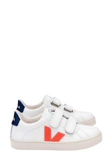 Veja Boys White And Orange Logo Esplar Velcro Trainers