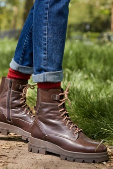 Chocolate Regular/Wide Fit Forever Comfort® Wedge Lace-Up Boots