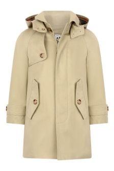 Boys Beige Cotton Trench Coat