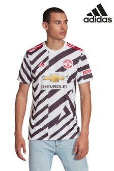 adidas White Manchester Untied Away 20/21 Football Shirt