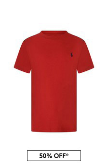 Boys Red Crew Neck Top