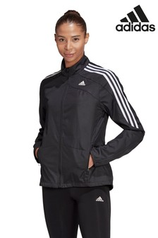 adidas Black Marathon 3 Stripe Jacket