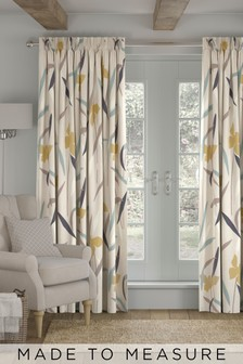 Modern Floral Natural Made To Measure Curtains