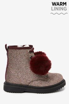 Glitter Berry Lace-Up Boots (Younger)