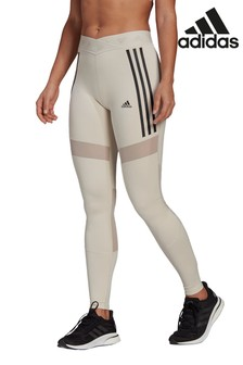 adidas Light Grey 3 Stripe Mesh Leggings