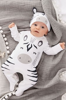 White Zebra Dress Up Sleepsuit (0-18mths)