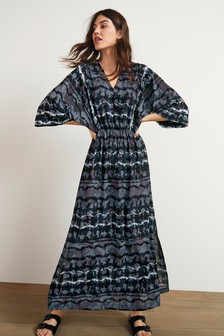 Navy Tie Dye Kaftan Long Sleeve Dress