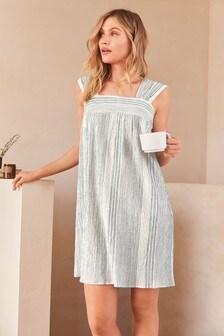 Blue Textured Stripe Slip