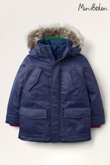 Mini Boden Navy Cosy Waterproof Parka