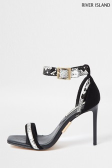 River Island Black Part Skinny Sandals
