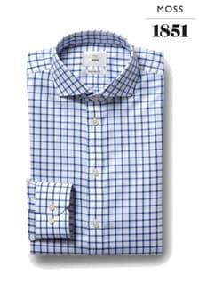 Moss 1851 Blue Tailored Fit Single Cuff Twill Iron Shirt