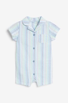 Blue Stripe Pyjama Romper (0mths-3yrs)