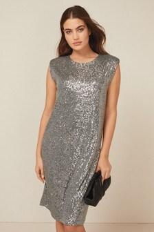 Gunmetal Sequin Shoulder Pad Dress