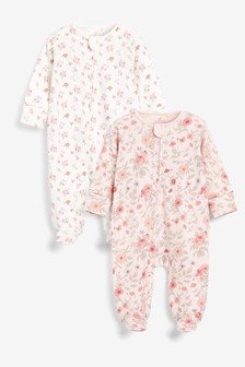 Pink Floral 2 Pack Zip Sleepsuits (0-3yrs)