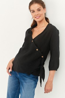 Black Maternity/Nursing Asymmetric Button Through Top