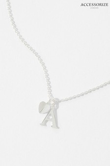 Accessorize Sterling Silver Heart Initial Necklace - A