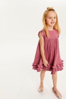Rose Pink Ruffle Satin Dress (3-16yrs)