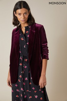 Monsoon Purple Plain Velvet Jacket