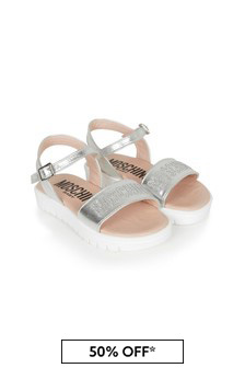 Girls Silver Leather Sandals