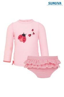 Sunuva Pink Ladybird Rash Vest And Frill Pants Set