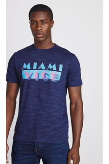 Navy Marl Miami Vice TV And Film Licence T-Shirt