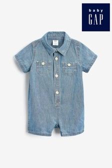 Gap Baby Blue Chambray Button Romper