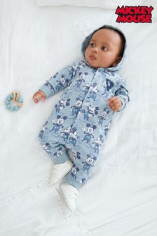 Blue Mickey Mouse Brushed Back Sweat Romper (0mths-3yrs)