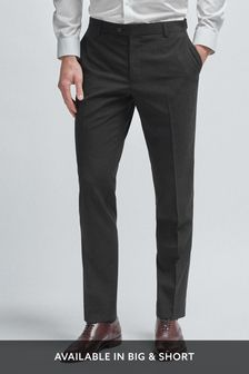 Black Tailored Fit Wool Mix Textured Suit: Trousers