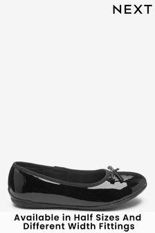 Black Patent Wide Fit (G) Leather Ballet Shoes