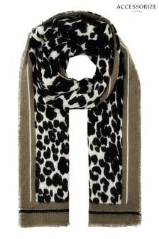 Accessorize Black Mono Leopard Border Blanket Scarf