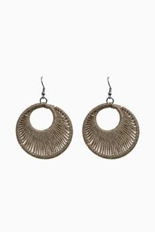 Bronze Thread Wrapped Hoop Earrings