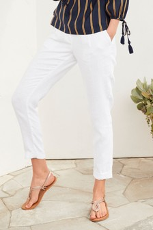 White 100% Linen Taper Trousers