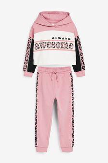 Pink/Black Animal Slogan Cropped Hoody And Jogger Set (3-16yrs)
