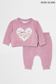 River Island Pink Baby Pretty Perfect Sweat Set