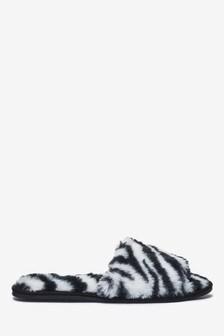 Zebra Print Faux Fur Slider Slippers